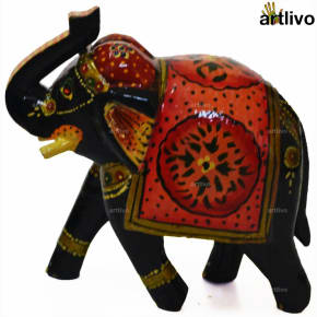 POPART Wooden Decorative Elephant Showpiece - Dotted