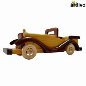 Wooden Carved Brown Toy open Jeep