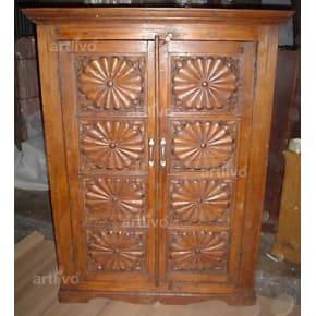 Vintage Indian Engraved Palatial Solid Wooden Teak Almirah