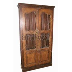 Vintage Indian Engraved Superb Solid Wooden Teak Almirah