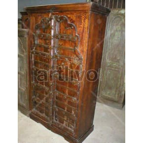 Vintage Indian Sculptured Lavish Solid Wooden Teak Almirah