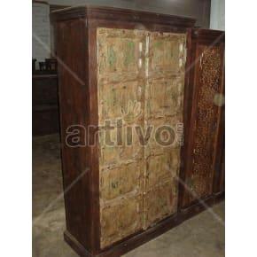 Vintage Indian Sculptured noble Solid Wooden Teak Almirah