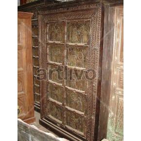 Vintage Indian Sculptured Supreme Solid Wooden Teak Almirah