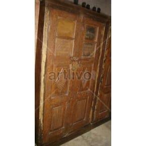 Vintage Indian Brown Deluxe Solid Wooden Teak Almirah