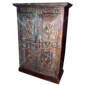 Old Indian Beautiful Luscious Solid Wooden Teak Almirah