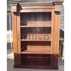 Vintage Indian Carved Deluxe Solid Wooden Teak Bookshelf