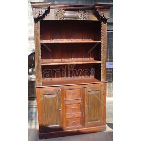 Vintage Indian Carved Lavish Solid Wooden Teak Bookshelf