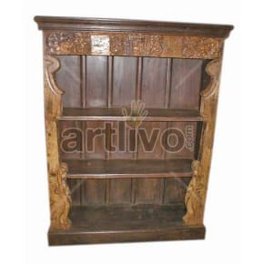 Antique Indian Sculpted Magnificent Solid Wooden Teak Bookshelf