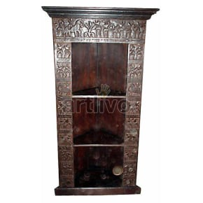 Antique Indian Sculptured Supreme Solid Wooden Teak Bookshelf