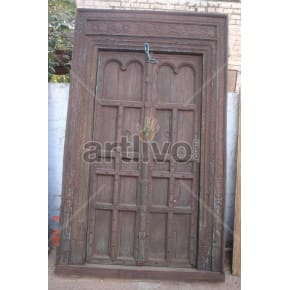 Vintage Indian Brown Extravagant Solid Wooden Teak Door