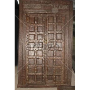 Vintage Indian Brown Royal Solid Wooden Teak Door