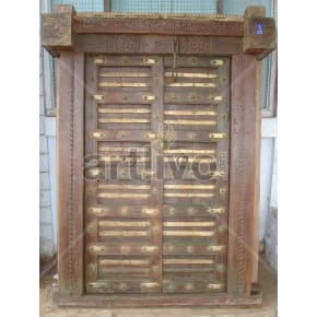 Vintage Indian Brown Splendid Solid Wooden Teak Door