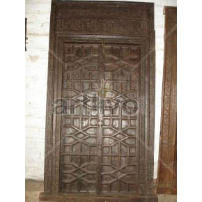 Vintage Indian Chiselled Rich Solid Wooden Teak Door