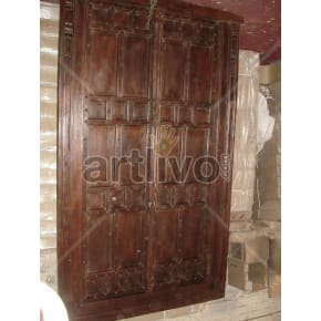Vintage Indian Engraved Unique Solid Wooden Teak Door