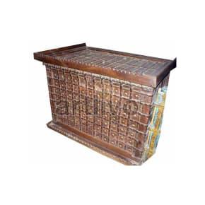 Antique Indian Brown Plush Solid Wooden Teak Sideboard