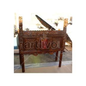 Antique Indian Carved Supreme Solid Wood brown color with chiseled wood art Trunk