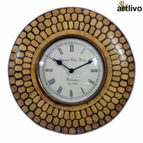 Bamboo Inlay Wall Clock Dark