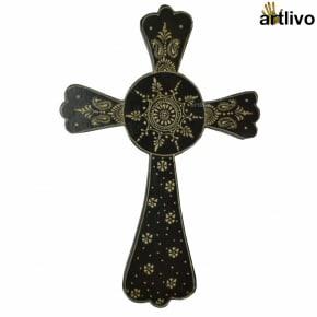 EMBOSSED Black Wall Hung Cross