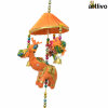 POPART Elephant & Birds with hut Windchime style Wall Hanging