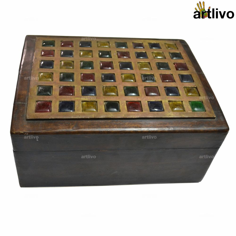 VINTAGE Chest Box with Glass Work