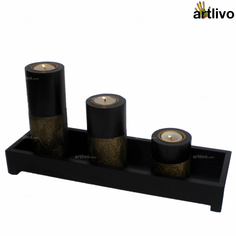 UBER ELEGANT Candle Stands with tray - Leaves