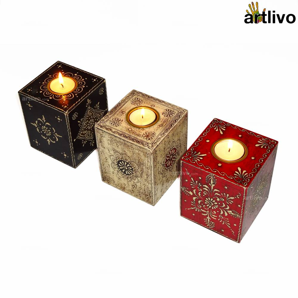 EMBOSSED Set of Cube Candles