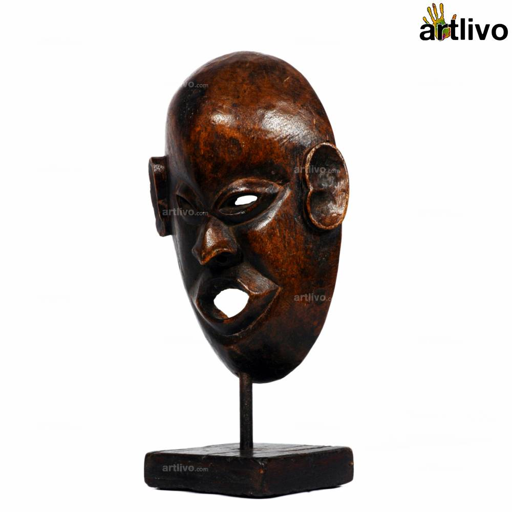 VINTAGE Wooden Tribal Mask on Stand - MA004