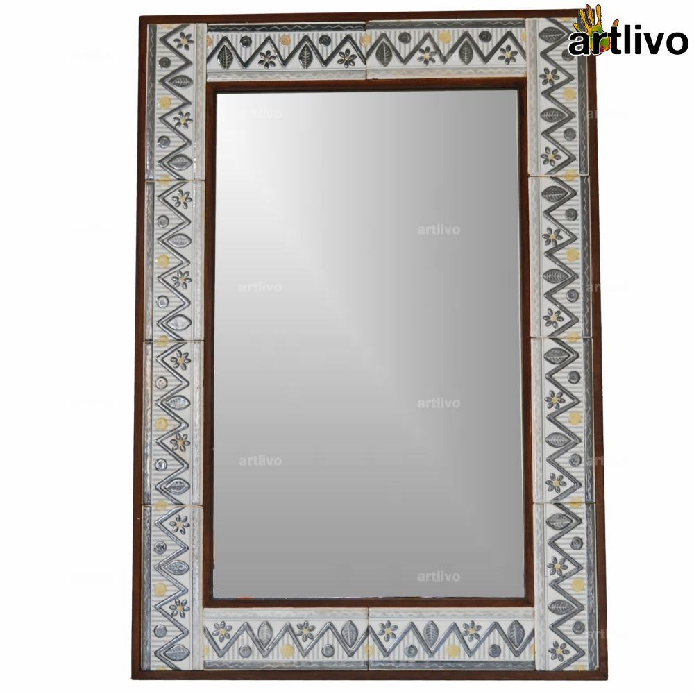 """32"""" Zigzag Style Decorative Wall Hanging Tile Mirror Frame"""