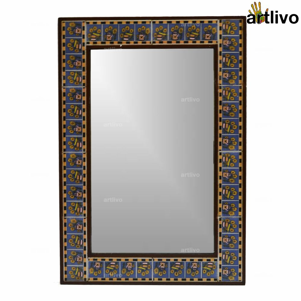 "32"" Floral Decorative Bathroom Wall Hanging Tile Mirror Frame"