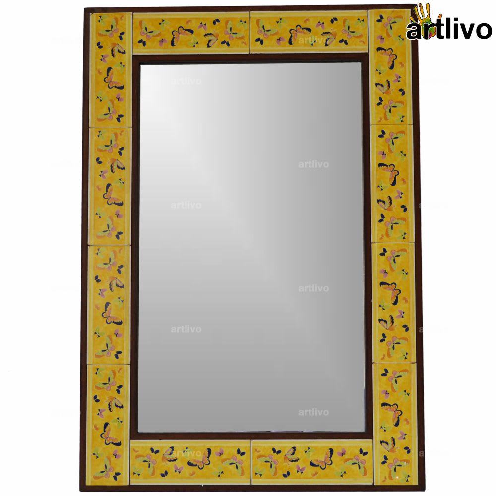 32 Inches Butterfly Design Yellow Wall Hanging Tile Mirror Frame