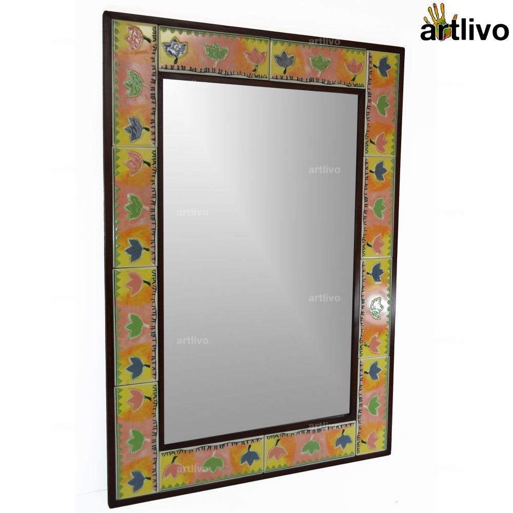 "32"" Decorative Wall Hanging Tile Mirror Frame - MR054"