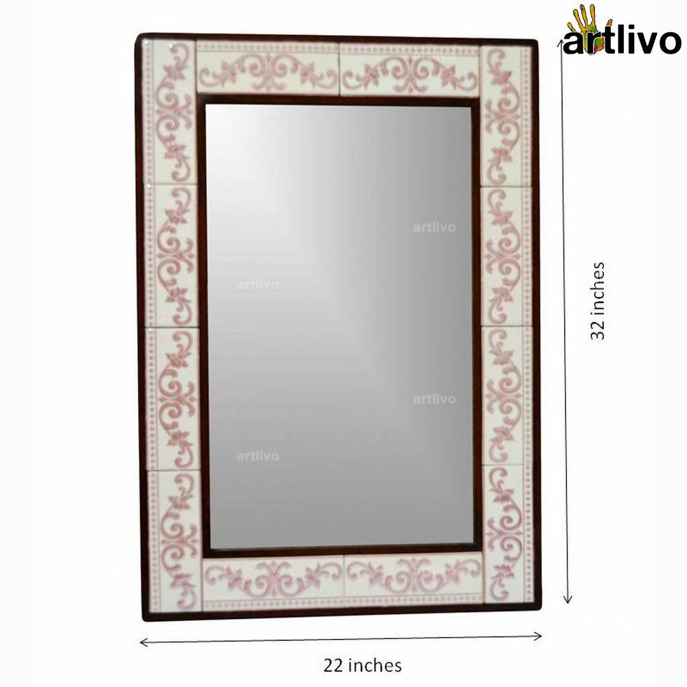 "32"" Decorative Wall Hanging Tile Mirror Frame - MR055"