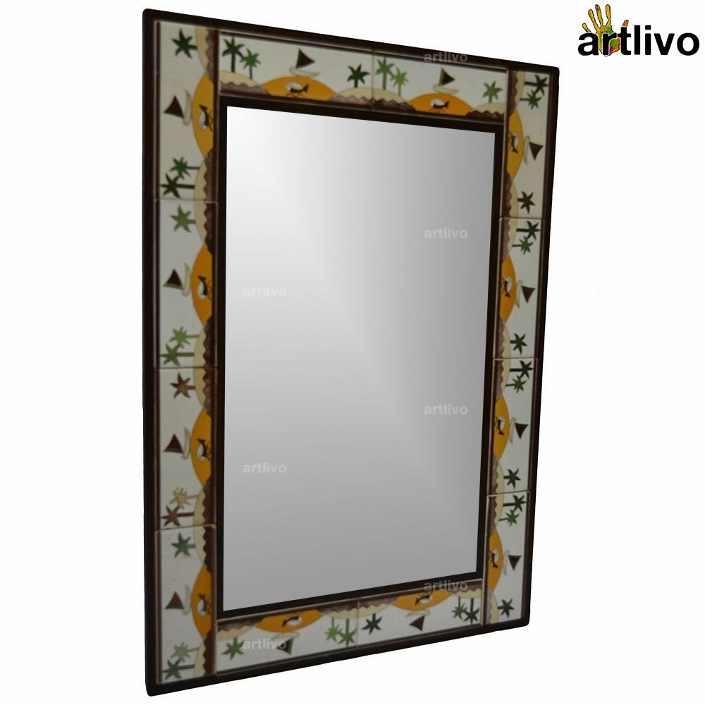 "32"" Decorative Wall Hanging Tile Mirror Frame - MR064"
