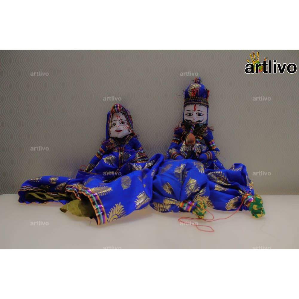 "POPART Blue Brocade Kathputli Puppet Set 20"""