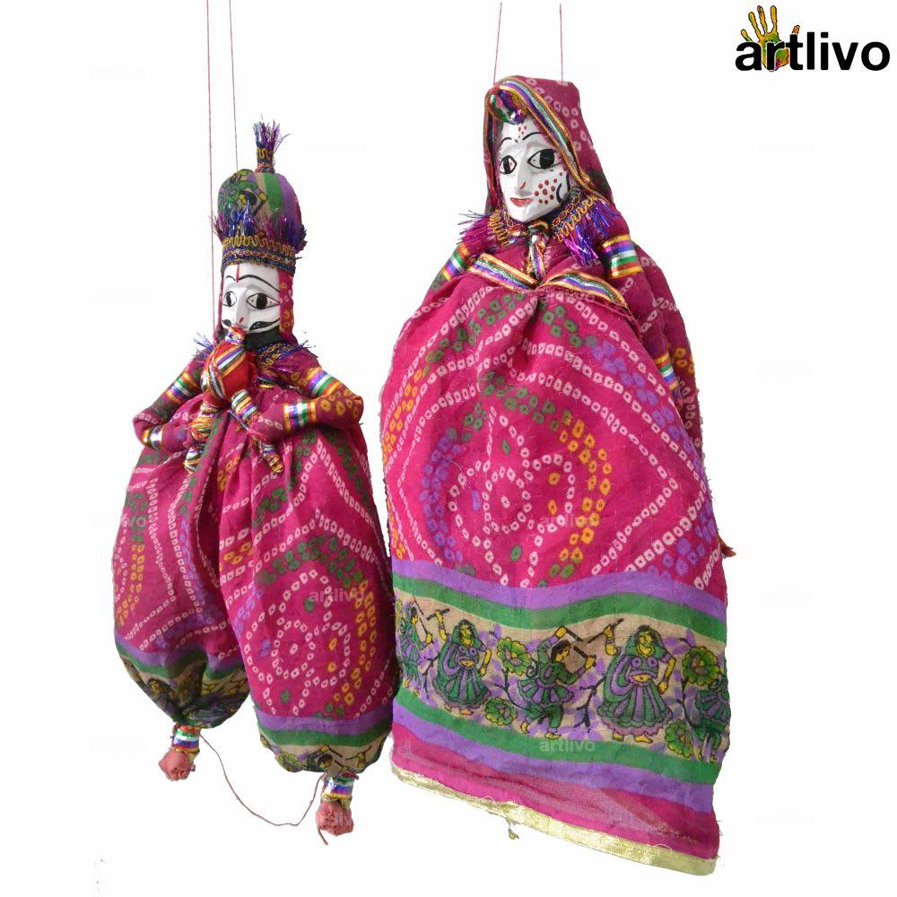 """POPART Pink Chundri Kathputli Puppet Set 20"""""""