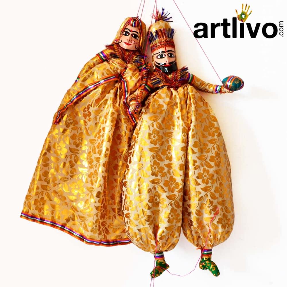 """POPART Yellow Brocade Kathputli Puppet 20"""""""