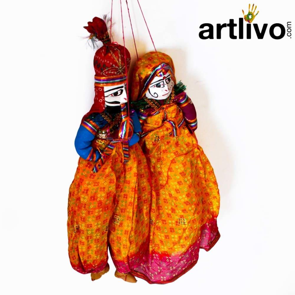 "POPART Yellow Chundari With Red Boder Kathputli Puppet 20"""