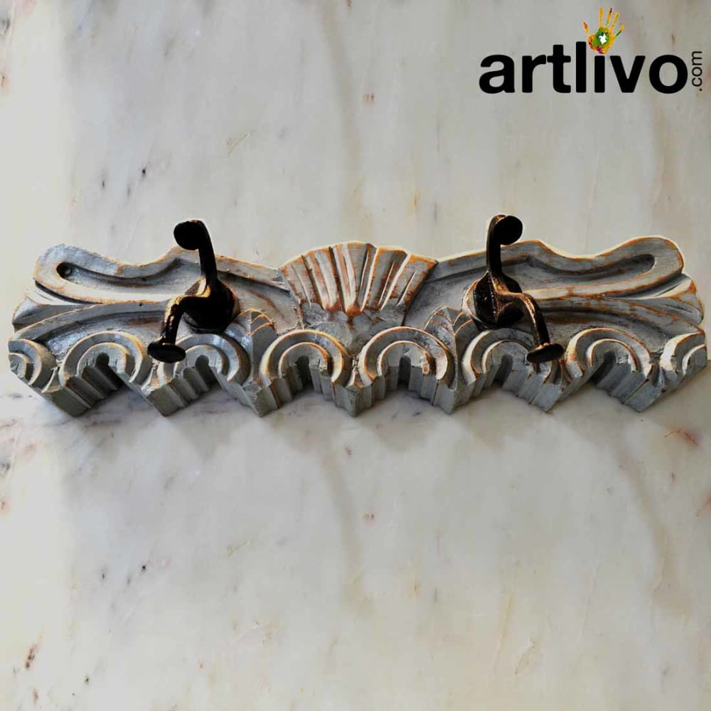 Wooden hooks with carving gray