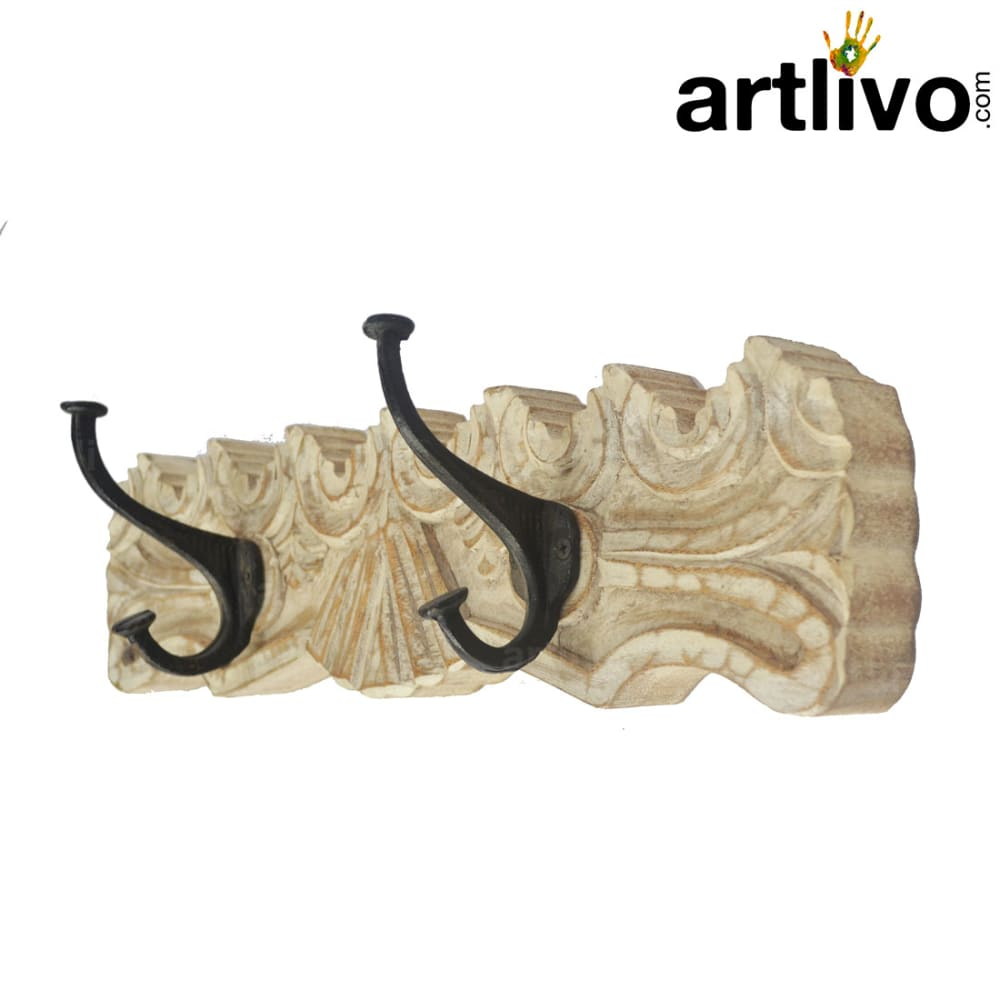 Wooden hooks with carving white