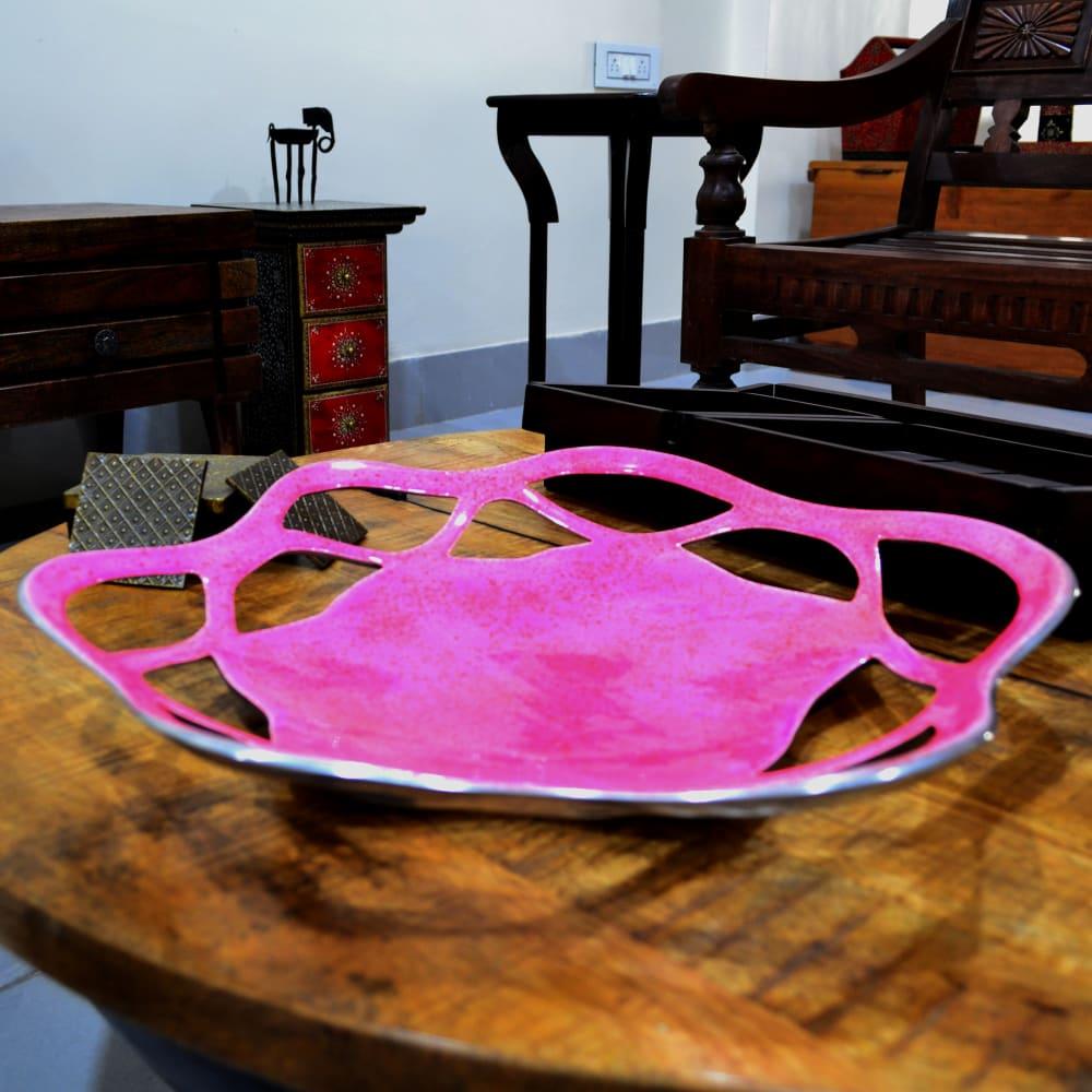 Shine Metal Fruit Tray Pink