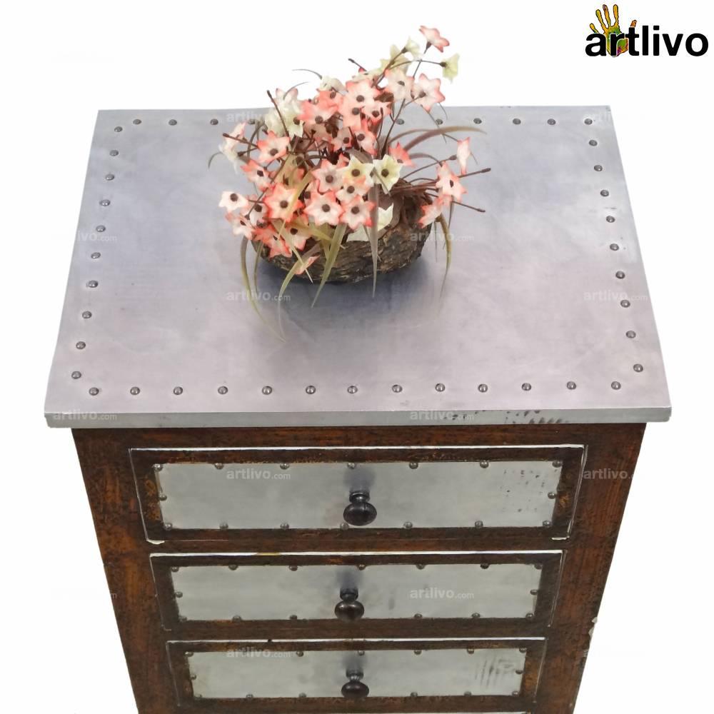 Brown & Metal Side Table