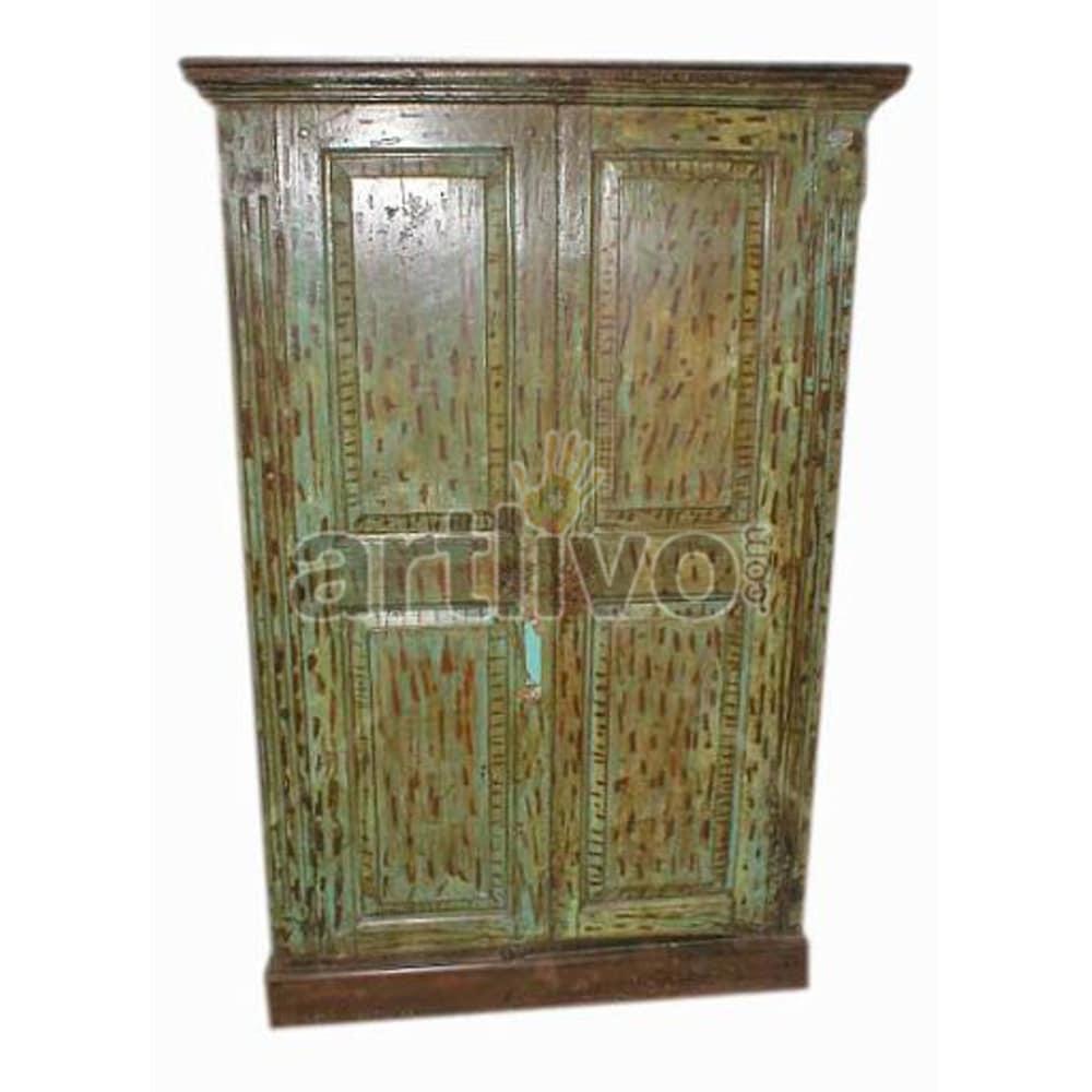 Vintage Indian Sculpted Ostentatious Solid Wooden Teak Almirah