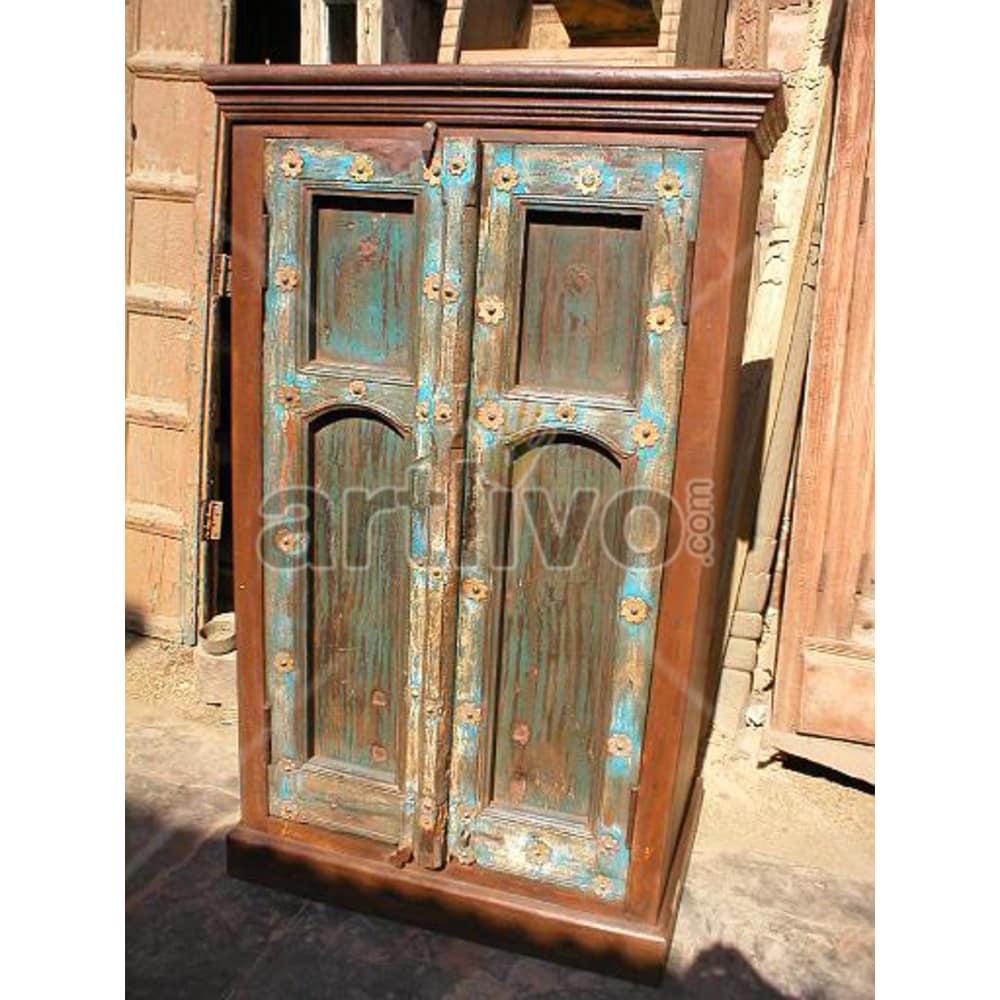 Vintage Indian Brown Opulent Solid Wooden Teak Almirah