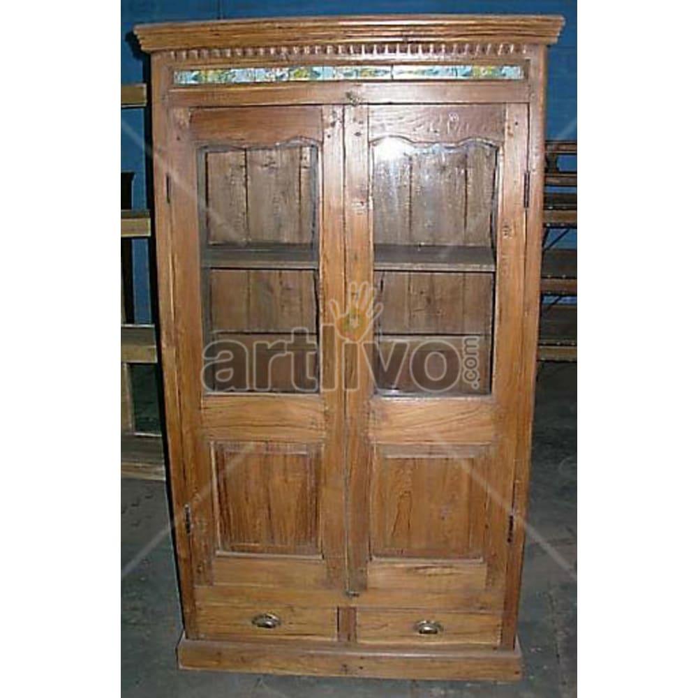 Antique Indian Engraved Supreme Solid Wooden Teak Almirah