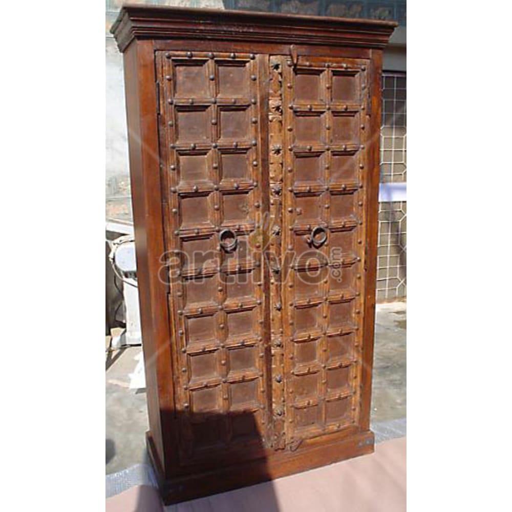 Antique Indian Engraved Marvellous Solid Wooden Teak Almirah