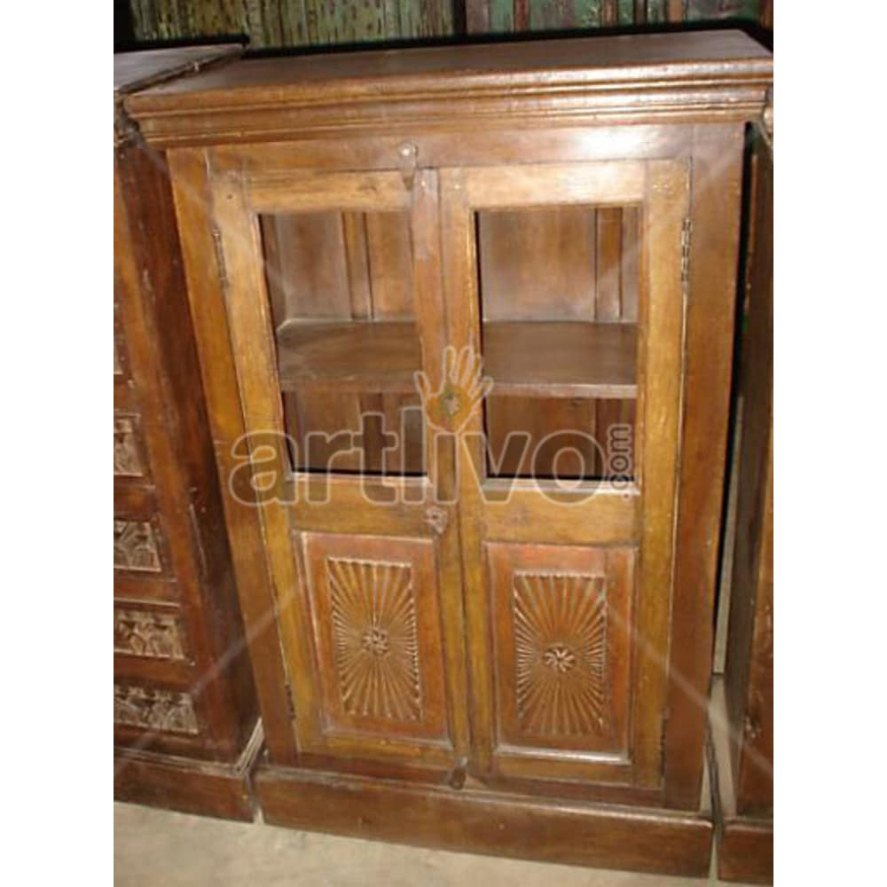 Antique Indian Sculpted Royal Solid Wooden Teak Almirah