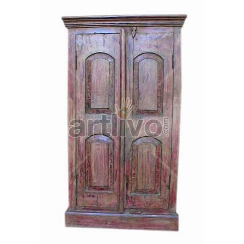 Antique Indian Brown Splendid Solid Wooden Teak Almirah