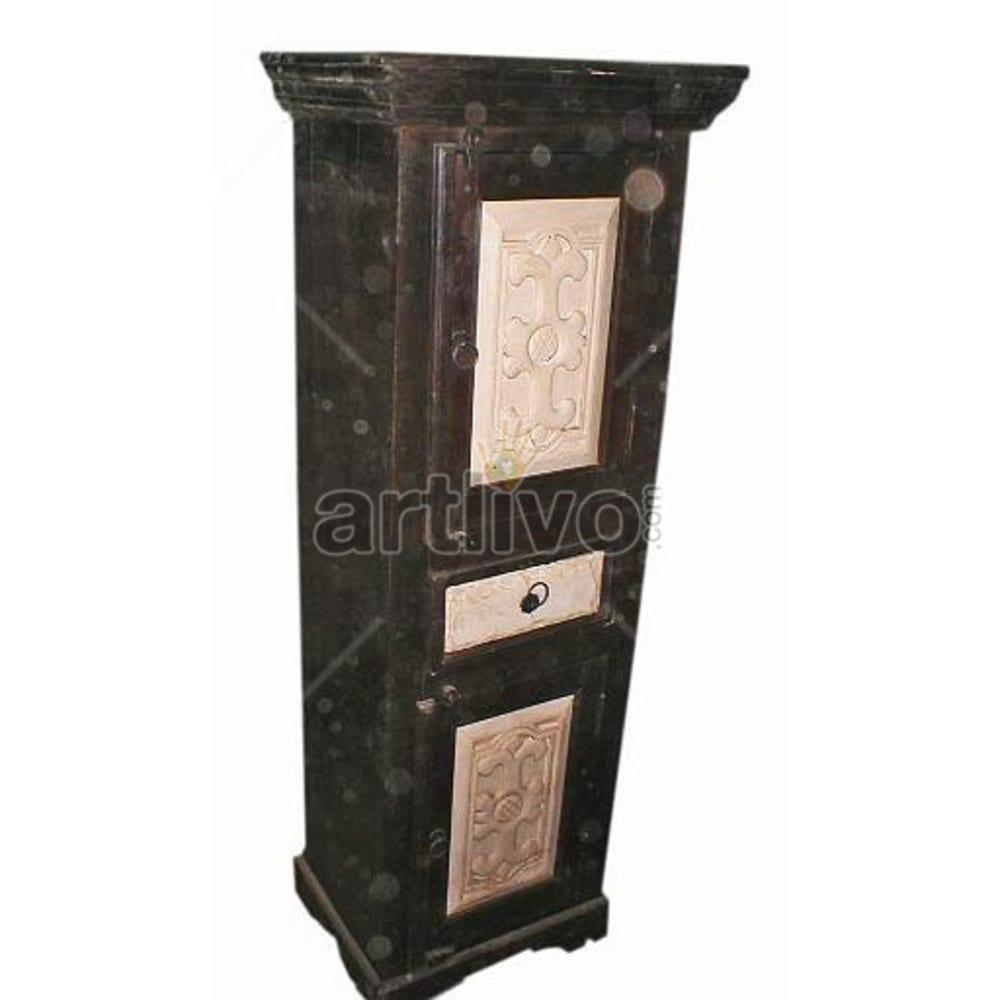 Old Indian Carved Superb Solid Wooden Teak Almirah