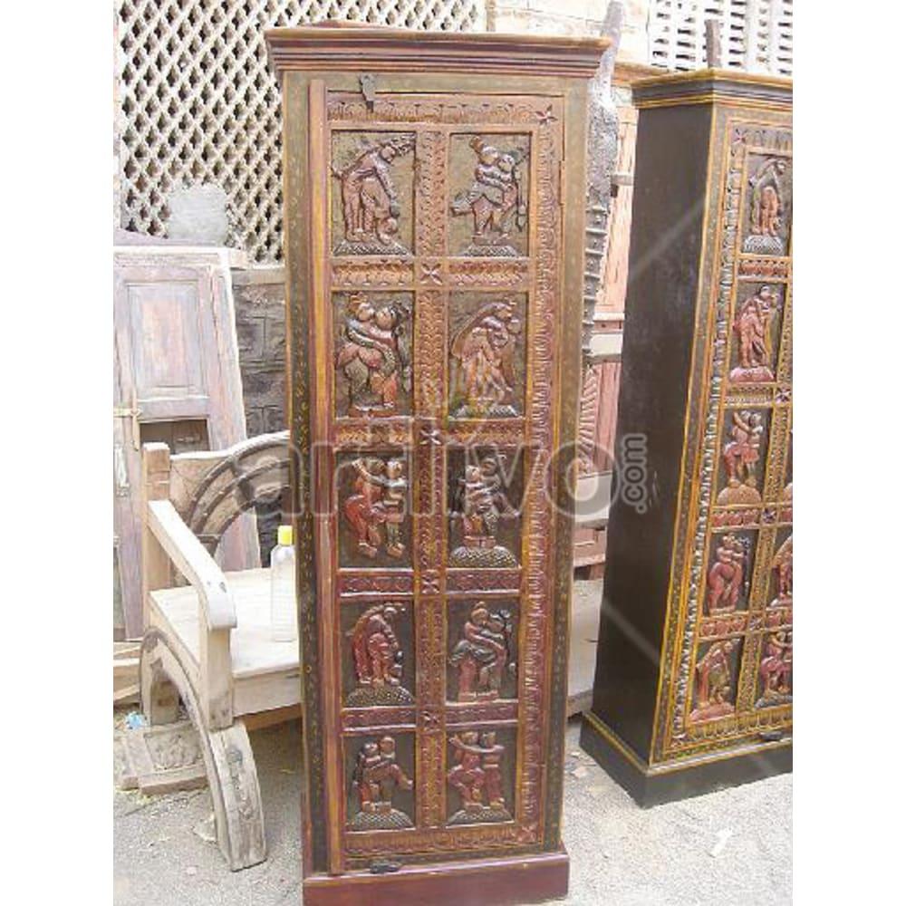 Old Indian Engraved Deluxe Solid Wooden Teak Almirah