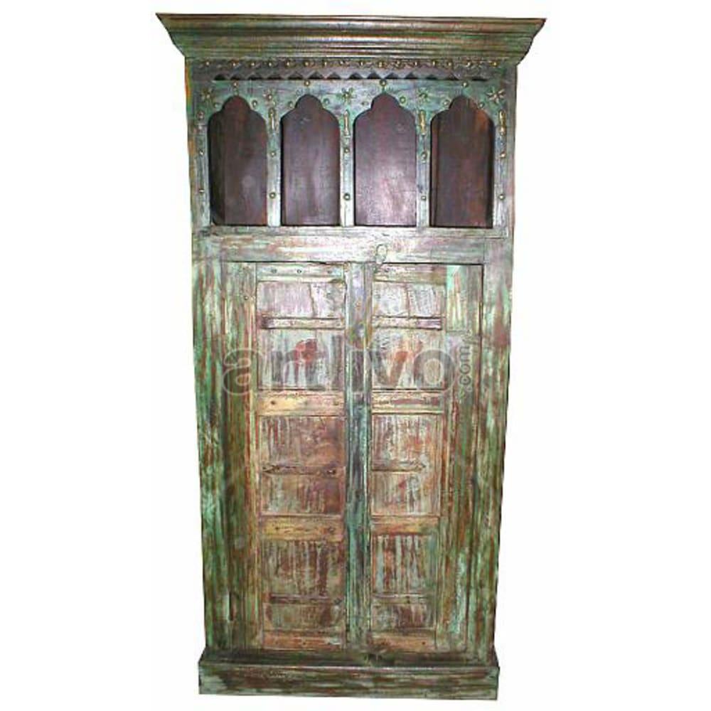 Old Indian Engraved Extravagant Solid Wooden Teak Almirah